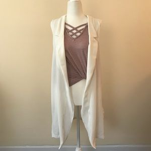 Long White Vest with Pockets